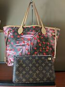 Auth Louis Vuitton Neverfull Nm Tote Limited Edition Monogram Jungle Dots Mm