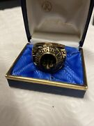 10 Kt Solid Gold Mens Boston State College 1973 John Roberts Class Ring W/ Box
