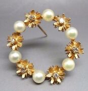 Antique 14k Yellow Gold Diamond And Pearl Wreath Brooch Stunning. 30461