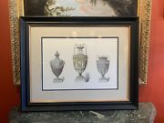 19th Century Neoclassical Hand Colored Print Of Three Wedgwood Urn Design Framed