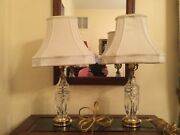 Pair Small Vintage Waterford Crystal And Brass Table Accent Bedroom Lamps