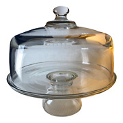 Heavy Clear Glass Cake Plate Dome And Stand Cover Lid 10 1/4 Excellent Thick