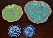 Group Four 4 Antique Chinese Porcelain Dishes Famille Rose Blue White