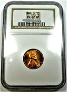 1944-d 1 Penny Graded By Ngc Ms-67 Rd. Lincoln Cents Wheat Reverse