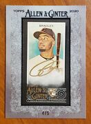 2020 Topps Allen And Ginter X Bobby Bradley Rookie Auto Gold 4/5 Rc Ssp - Indians