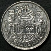 1945 Canada 50 Cents Silver Strong Double Die Clash Variety 13870