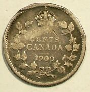 1909 Canada Silver 5 Cents Round Leafs Cross Over Bow Tie 3392