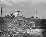 Woman Drives Oliver Tractor 1930s Farm 8x10 Reprint Of Old Photo