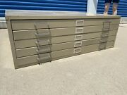 Flat Lay File Cabinet 5 Five Drawer Beige Putty Tan