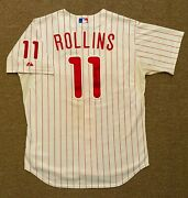 Jimmy Rollins Mlb Holo Game Used Jersey 6 Home Run 2011 Philadelphia Phillies