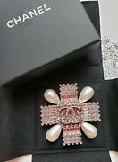 Very Rare Brooch Pearl Clear Stone Silver Color Unused Nice