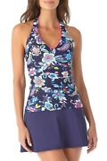 Nwt Anne Cole Blue Floral Tankini Swimsuit Halter Top Size Large 68 M165