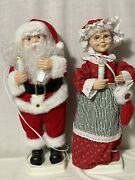 Telco Motionettes Of Christmas Mr And Mrs Santa Claus Figures Original Boxes 1996