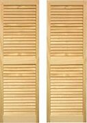 Ltl Home Products Shl63 Exterior Solid Wood Louvered Window Shutters 15 X 63...