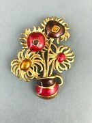 80and039s Avon Signed Enameled Van Gogh Inspired Sunflower Gold Tone Brooch Pin