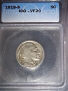 1918-s Buffalo Nickel, Icg Vf20, Tough Date, Issue Free