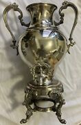 Vintage Sheridan Coffee-hot Water Urn Silver On Copper Antique Silver Plate