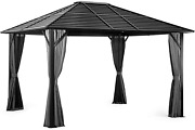 Pamapic 10and039x12and039 Patio Gazebo Canopy Iron Hardtop Gazebos With Mosquito Net And C