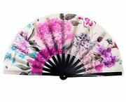 Large Folding Hand Rave Fan For Women/men, Chinease/japanese Bamboo And Nylon