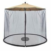 Patio Umbrella Outdoor Screen Mesh Mosquito Net Canopy Curtains Large Black