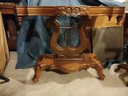 Antique Marble Topped Walnut/mahogany Victorian Hall Table Or Side Board