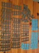 Lot Of Lego City Train Tracks Blue And Gray - 51 Pieces - Free Shipping