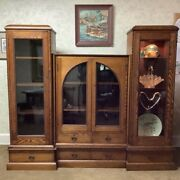 Antique Tiger Oak Carved Multiple Piece Display Case Cabinet Bookcase Library