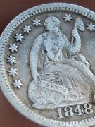 1848 O Seated Liberty Half Dime Fine/vf Obverse Details