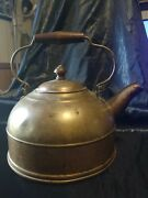 Vintage Revere Ware Copper Tea Kettle With Wooden Handle Teapot Rome, Ny
