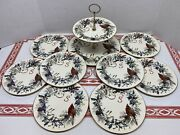 Lenox Set Of 8 Winter Greetings Luncheon Plates And 2 Tier By Catherine Mc Clung