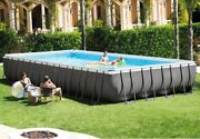 Intex - 32and039 X 16and039 X 52 Ultra Rectangular Pool Set With Ladder Pump And Cover