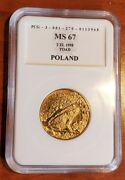 1998 Poland 2 Zlote Ropucha / Toad Frog Nordic-gold Coin Polish Animals Series