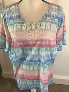 Nwt Alfred Dunner Short Sleeve Top Pastel Colors W/ Embellished Front Size 2xandnbsp