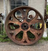 Large Cast Iron Wheel 6andrsquo H X 2andrsquo W Weight = 22+ Tons Antique Industrial Engine