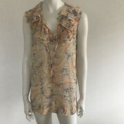 Cabi Womenand039s Linen Beige Ruffle Neckline Sleeveless Top Blouse Size Small