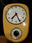 Retro Yellow Kitchen Time Clock And Timer Wall Clock Rzk