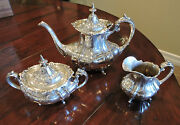Reed And Barton Hampton Court 660 Sterling Silver 3 Pc. Coffee Set 1948
