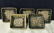 Oribe-ware Small Dishes 5 Pcs Set Pottery Japanese Traditional Crafts L7cm W7cm