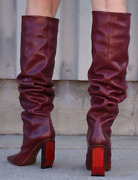 Vetements Reflector Dark Red Leather Slouch Over The Knee Boots Eu 40 Us 10