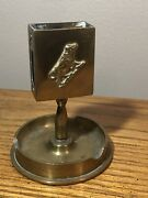 """Antique Wwi Trench Art All-brass 85mm Shell Ammo Match-holder 3.75"""" Nice Rare"""