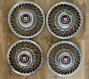 Set Of 4 Oem Cadillac Deville 1988 Wire Type Hub Caps Wheel Covers With Key