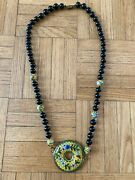 Vintge Onyx And Cloisonne Bead And Pendant Necklace