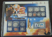 1981 P,d And S Mint Set Brilliant Uncirculated Us Coins As Issued W/stamp