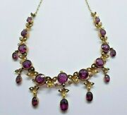 Superb Antique 9ct Gold Pendant Necklace - Split Pearl And Amethyst Flowers