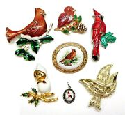 7 Vintage Christmas Bird Jewelry 6 Pins Brooches 1 Pendant Cardinal Dove Lot A2