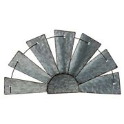 New Country Farmhouse Galvanized Metal Half Windmill Wall Hanging 16