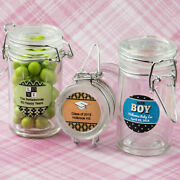 30-96 Personalized Apothecary Glass Candy Jar - Baby Shower Baptism Party Favor