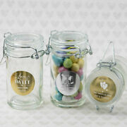 30-96 Personalized Metallic Apothecary Glass Candy Jar - Wedding Party Favors