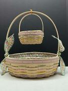 2001 Longaberger Large And Small White Washed Easter Basket Set Liners And Protector