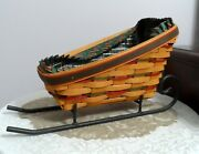 longaberger 1997 Large Holiday Sleigh Basket With Liner Protector Iron Runners